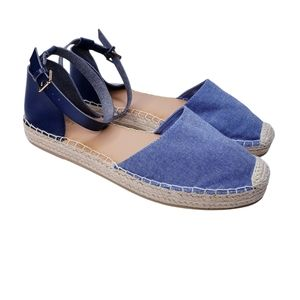 Old Navy Blue Chambray Platform Espadrille Shoes
